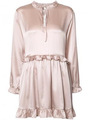 Платье с оборочной отделкой Anine Bing. Цвет: розовый и фиолетовый
