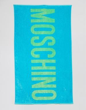 Moschino Пляжное полотенце с логотипом. Цвет: синий