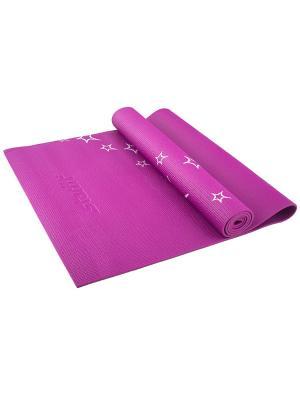 Коврик для йоги STARFIT FM-102 PVC 173x61x0,6 см, с рисунком, фиолетовый. Цвет: фиолетовый