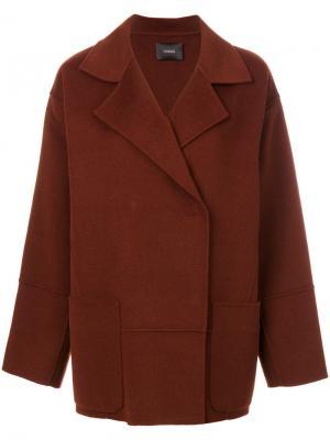 Двубортная куртка Odeeh. Цвет: коричневый