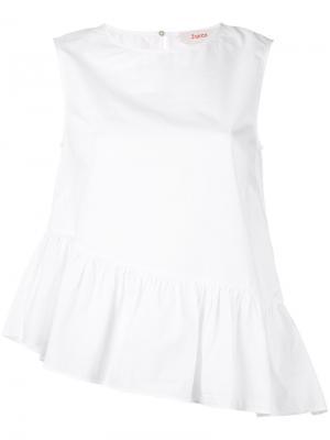 Блузка без рукавов с присборенным подолом Jucca. Цвет: белый