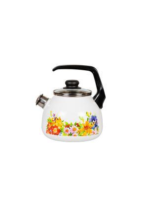 Чайник 3,0 л, со свистком,  СтальЭмаль. Цвет: розовый, зеленый