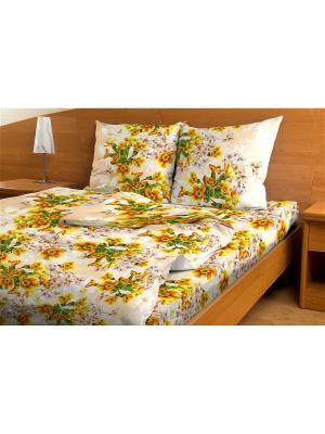 Комплект постельного белья Amore Mio  Vanilla 1,5 сп. Цвет: бежевый, желтый, зеленый