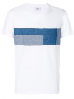 Футболка с джинсовыми заплатками в стилистике пэчворк Dondup. Цвет: белый