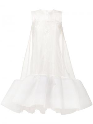 Прозрачное платье с цветочным декором Huishan Zhang. Цвет: белый