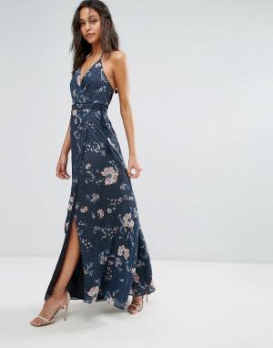 The Jetset Diaries Платье макси с цветочным принтом. Цвет: темно-синий
