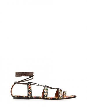 Кожаные сандалии Valentino. Цвет: multicolor