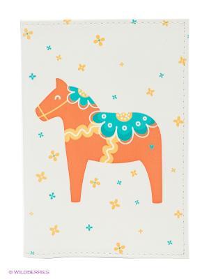 Обложка для паспорта Скандинавская лошадка Mitya Veselkov. Цвет: белый, оранжевый
