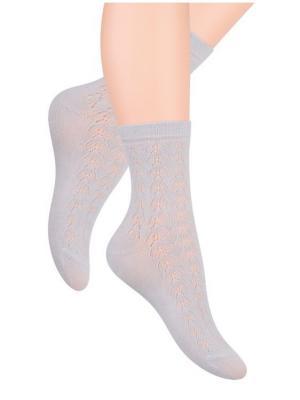 Носки женские ажурные Steven. Цвет: серый, светло-серый