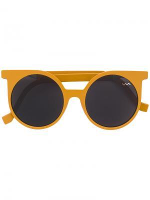 Солнцезащитные очки в круглой оправе Vava. Цвет: жёлтый и оранжевый