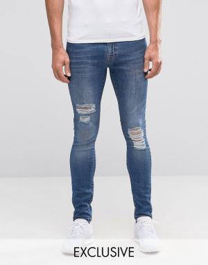 Brooklyn Supply Co. Выбеленные супероблегающие джинсы Co Dyker. Цвет: синий