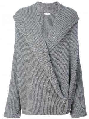 Трикотажный свитер с запахом Jil Sander. Цвет: серый