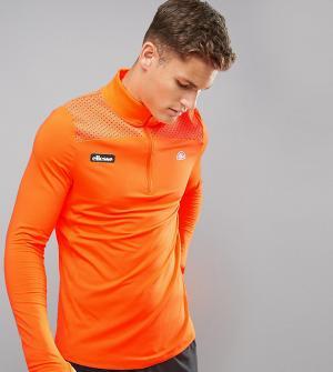Ellesse Оранжевый спортивный лонгслив с молнией до груди. Цвет: оранжевый