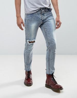 Mennace Укороченные джинсы скинни с кольцом для пирсинга. Цвет: синий