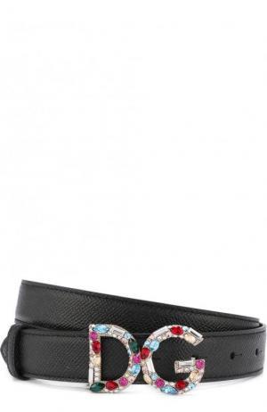Кожаный ремень с пряжкой в виде логотипа бренда Dolce & Gabbana. Цвет: черный
