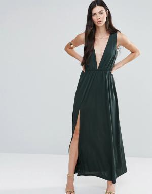 Pixie & Diamond Платье макси с глубоким V‑образным вырезом. Цвет: зеленый