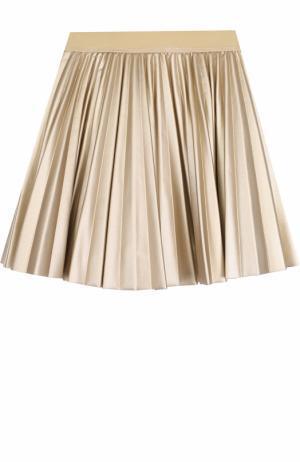 Плиссированная юбка с металлизированной отделкой Monnalisa. Цвет: золотой