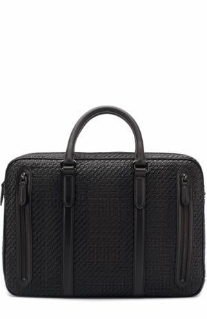 Кожаная сумка для ноутбука с плечевым ремнем Ermenegildo Zegna. Цвет: темно-коричневый
