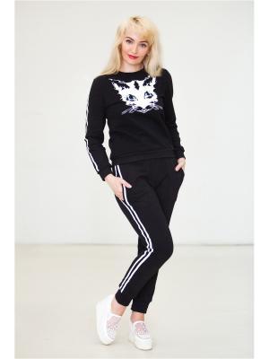 Спортивный костюм Черная кошка MARRUSHKA. Цвет: черный