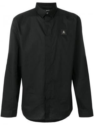 Рубашка с косым воротником Philipp Plein. Цвет: чёрный
