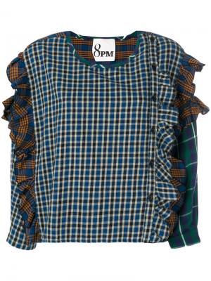 Рубашка в клетку с оборками 8pm. Цвет: многоцветный