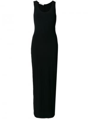 Длинное приталенное платье Nostra Santissima. Цвет: чёрный
