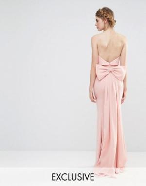 Jarlo Свадебное платье макси с большим бантом сзади. Цвет: розовый