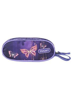 Пенал овальный Золотая бабочка Target. Цвет: сливовый, темно-фиолетовый, оранжевый