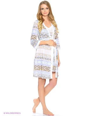 Комплект: халат и сорочка EUROMAMA. Цвет: голубой, коричневый, молочный