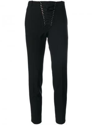 Front lace-up cropped trousers The Kooples. Цвет: чёрный