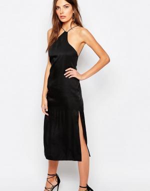 Finders Keepers Платье-комбинация на тонких бретелях. Цвет: черный