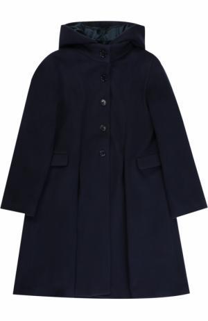 Шерстяное пальто свободного кроя с капюшоном Caf. Цвет: темно-синий