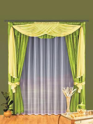 Комплект штор Wisan. Цвет: зеленый, желтый