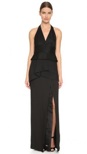 Вечернее платье без рукавов с глубоким V-образным вырезом завязками уздечкой Donna Karan New York. Цвет: голубой