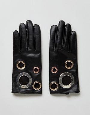ASOS Кожаные перчатки с люверсами Black Touch Screen. Цвет: черный