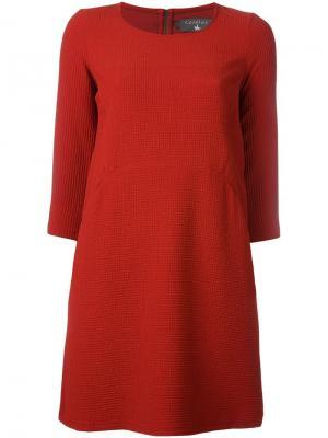 Платье с длинными рукавами Cotélac. Цвет: красный