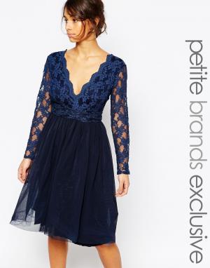 John Zack Petite Кружевное платье для выпускного с глубоким вырезом и юбкой из тюля Joh. Цвет: темно-синий