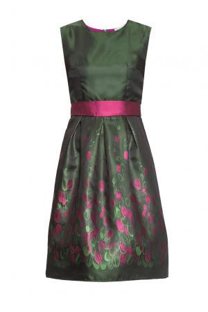 Платье из хлопка с поясом 170495 Imago. Цвет: разноцветный