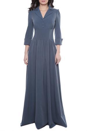 Платье с отложным воротником Olivegrey. Цвет: джинсовый