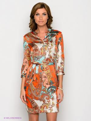 Платье Joyce and Girls. Цвет: оранжевый, бирюзовый, молочный