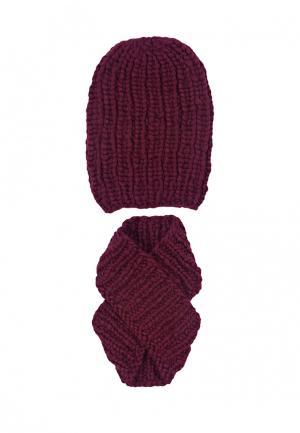 Комплект шапка и шарф FreeSpirit. Цвет: бордовый