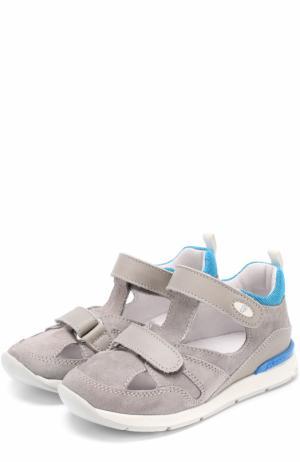 Замшевые сандалии с застежками велькро и отделкой из кожи Falcotto. Цвет: серый