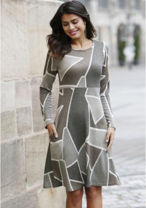 Платье MY STYLE. Цвет: серый с рисунком