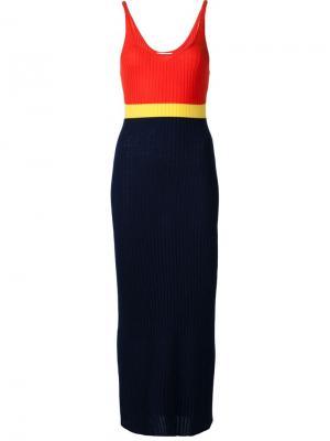 Длинное платье ребристой вязки Gabriela Hearst. Цвет: красный