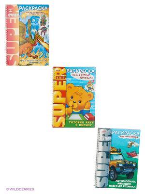 Комплект супер-раскраски №1 (4 вида) Издательство Хатбер-пресс. Цвет: белый