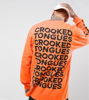 Crooked Tongues Оранжевый лонгслив с повторяющимся принтом Gildan. Цвет: оранжевый