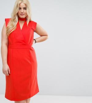 ASOS Curve Платье-футляр миди с запахом. Цвет: красный