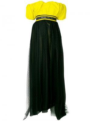 Платье с открытыми плечами MSGM. Цвет: жёлтый и оранжевый
