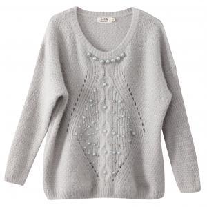 Пуловер с длинными рукавами и вышивкой MOLLY BRACKEN. Цвет: серый