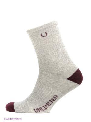 Носки спортивные 3 пары Unlimited. Цвет: серый меланж, красный, темно-красный, бордовый